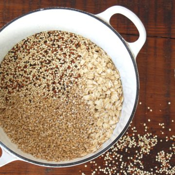 Multigrain Porridge on wooden counter with milk