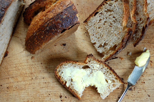 Sliced artisan bread and butter