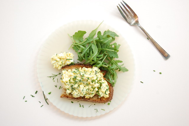 egg salad with fresh herbs on toast