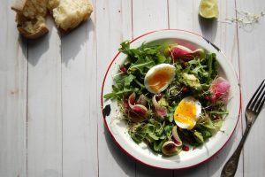 summer salad with watermelon radish and egg