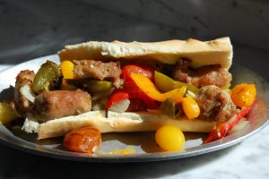 Sausage and Peppers Sandwich on roll
