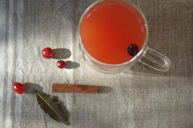 pink mulled cranberry apple cider with cranberry and cinnamon on linen