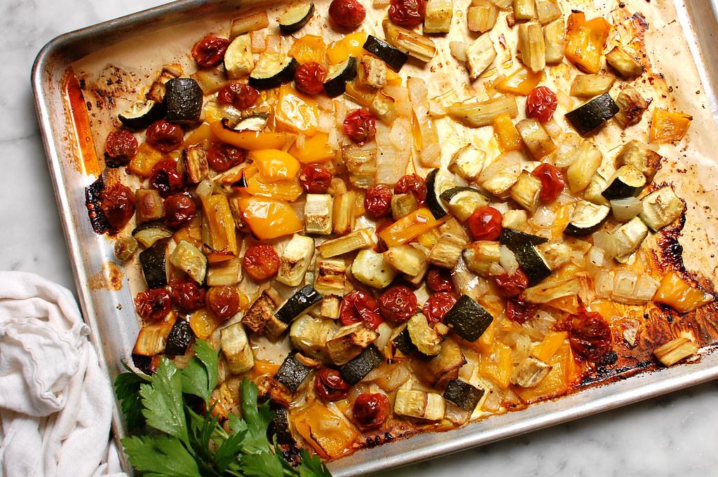 Tarditional French Easy Ratatouille Recipe on sheet pan