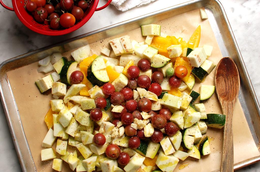 ratatouille vegetables on sheet pan