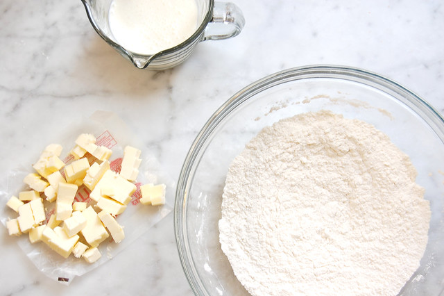 butter milk and flour on marble countertop