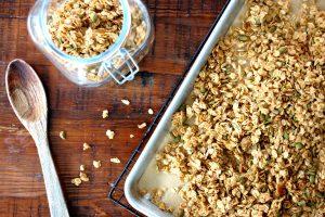 honey maple granola on sheet pan baked