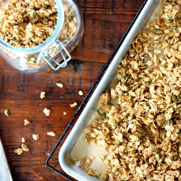 honey maple granola on sheet pan baked
