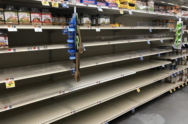 empty grocery shelves corona