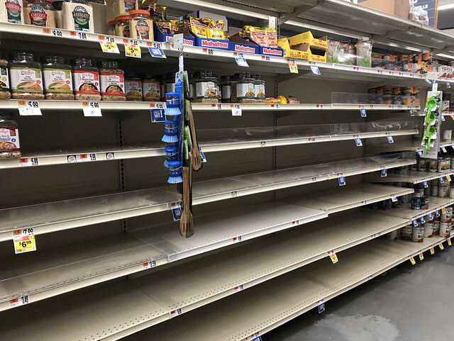 empty grocery shelves corona favorite food writing march