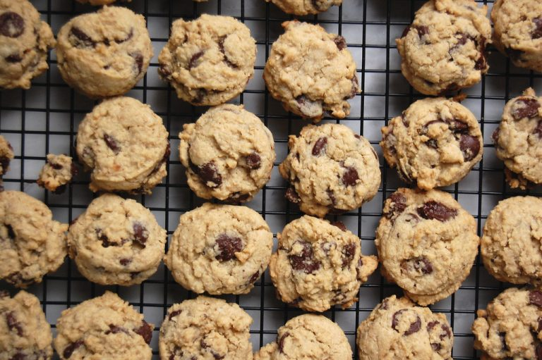 chocolate chip cookies on cooling rack