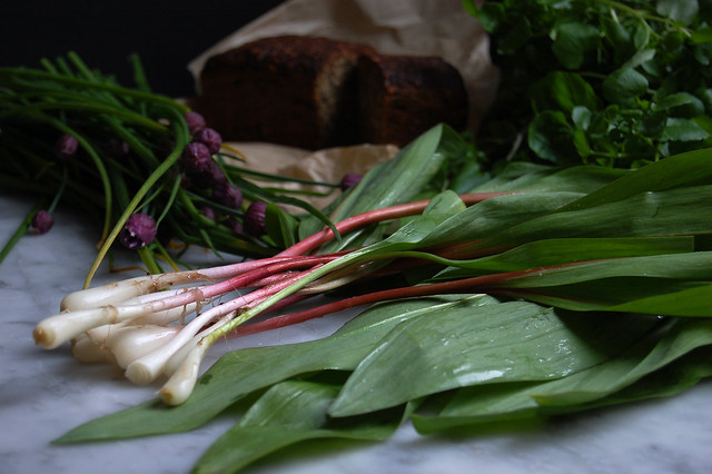 ramps and chives on marble