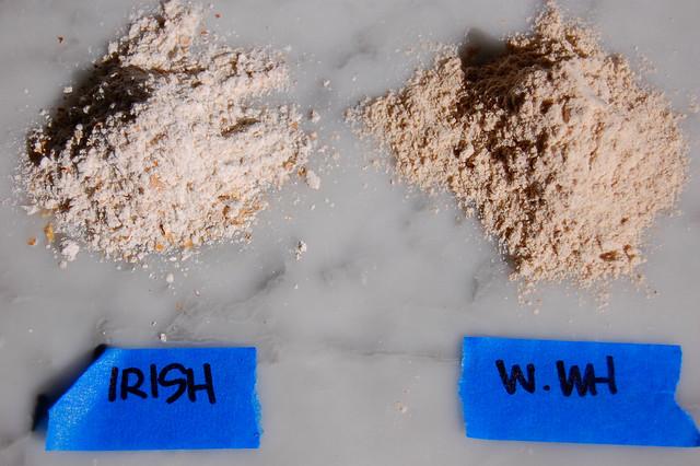 irish flour vs. whole wheat flour in piles on marble