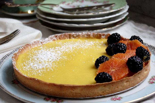 Pâte Sucrée Tart Dough used in lemon tart with fruit and china dishes