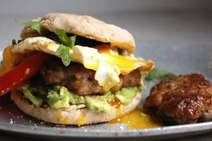 breakfast sandwich with sausage egg and english muffin
