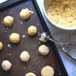 raw vanilla cornmeal cookie dough on tray