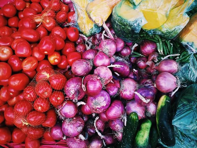 raw produce onions tomatoes green squash eco-friendly