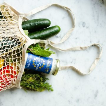 green produce in net bag eco-friendly