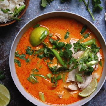 thai red chicken curry bowl with lime cilantro scallion in bowl