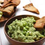 edamame hummus pita chips in wood bowl