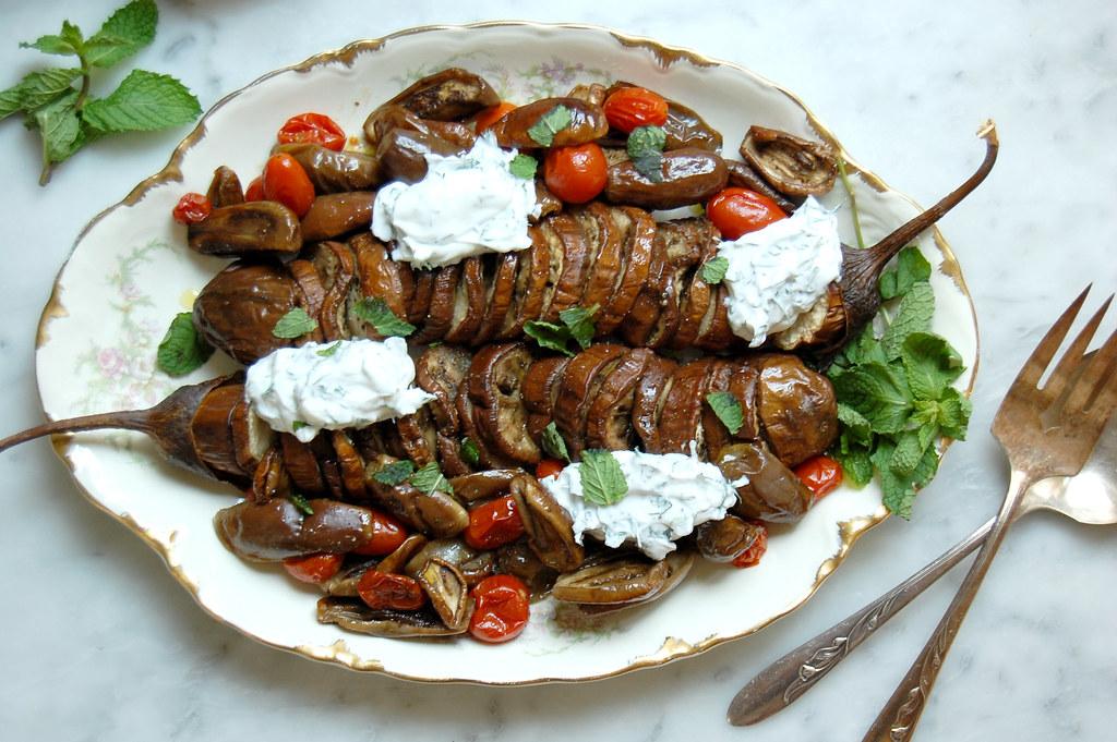 Hasselback Roasted Eggplant With Fresh Tzatziki
