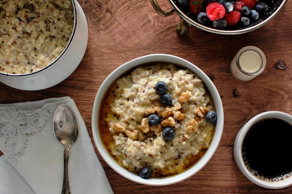 bowl of healthy multigrain oatmeal for breakfast with berries