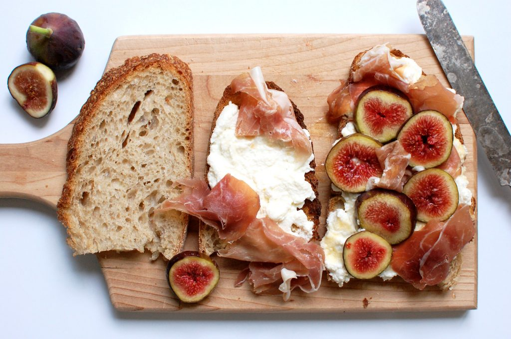 Ricotta Fig Toast With Honey + Prosciutto
