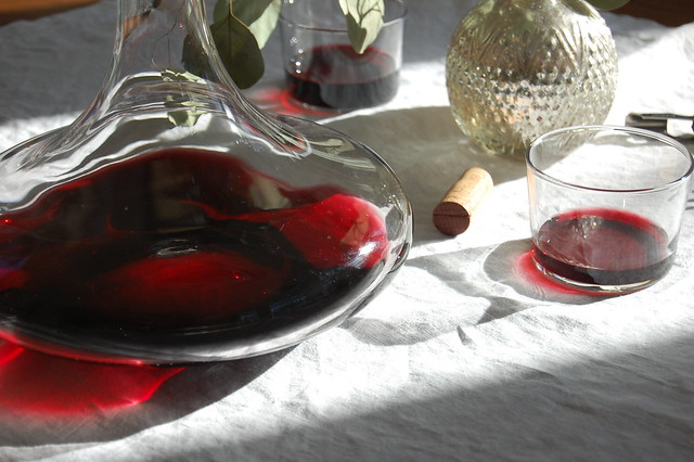 red wine in decanter on table