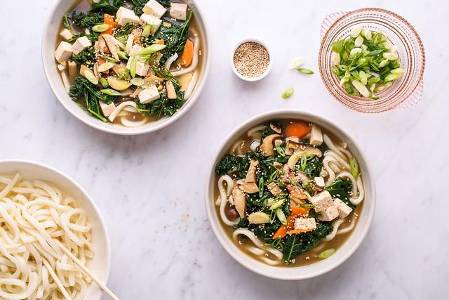 asian noodle soup in bowls