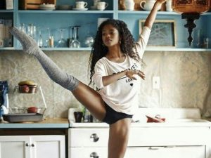 ballerina nardia boodoo in kitchen