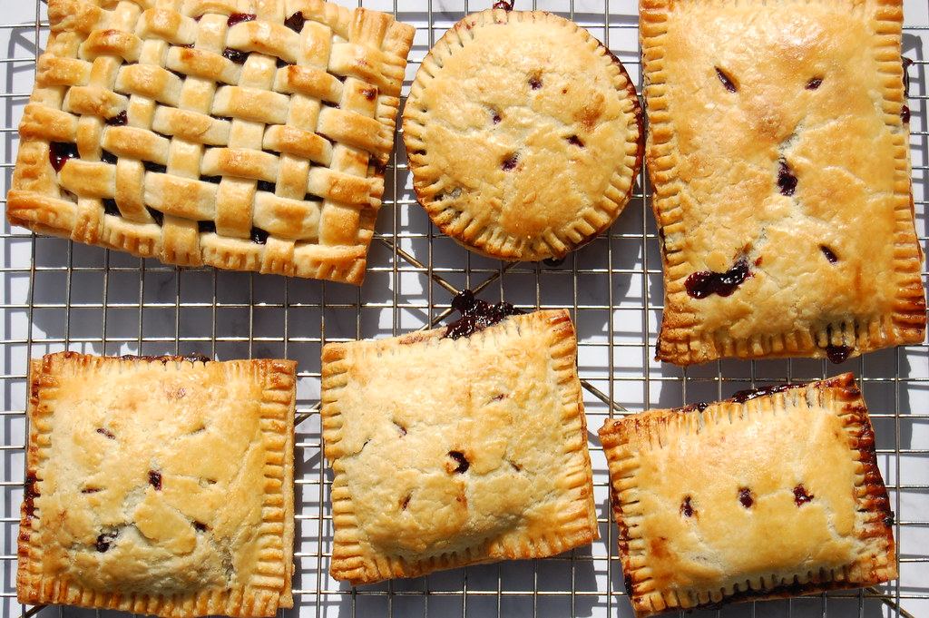 blueberry hand pies on cooling rack