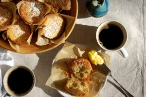 banana muffins in basket with coffee