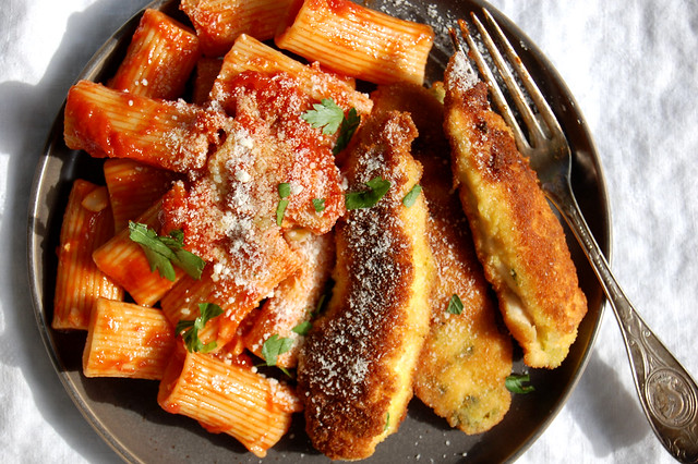 plate of Italian pan fried chicken tenders with pasta