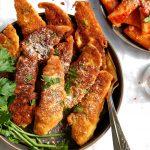platter of homemade fried chicken tenders