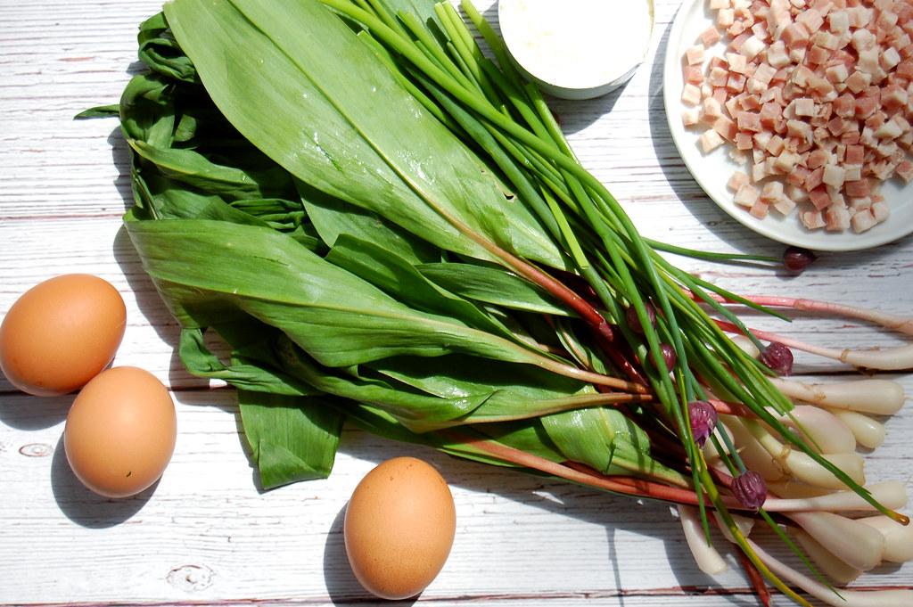 wild ramps egg pancetta for pasta carbonara recipe