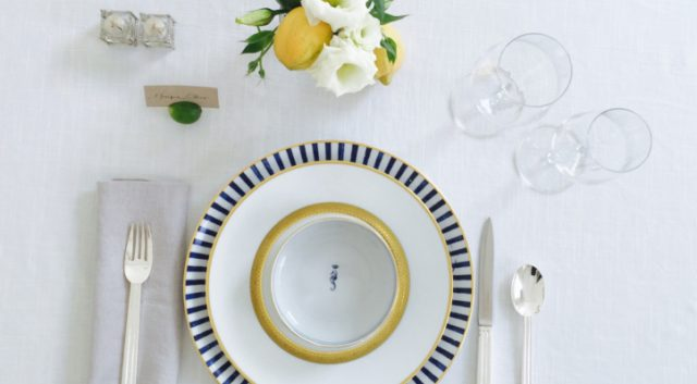 fancy place setting with flowers