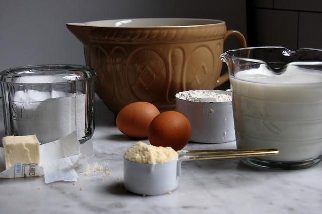 pancake ingredients flour eggs buttermilk with bowl