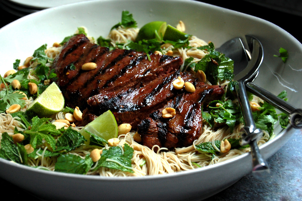 Ginger Lime Flank Steak Over Rice Noodles