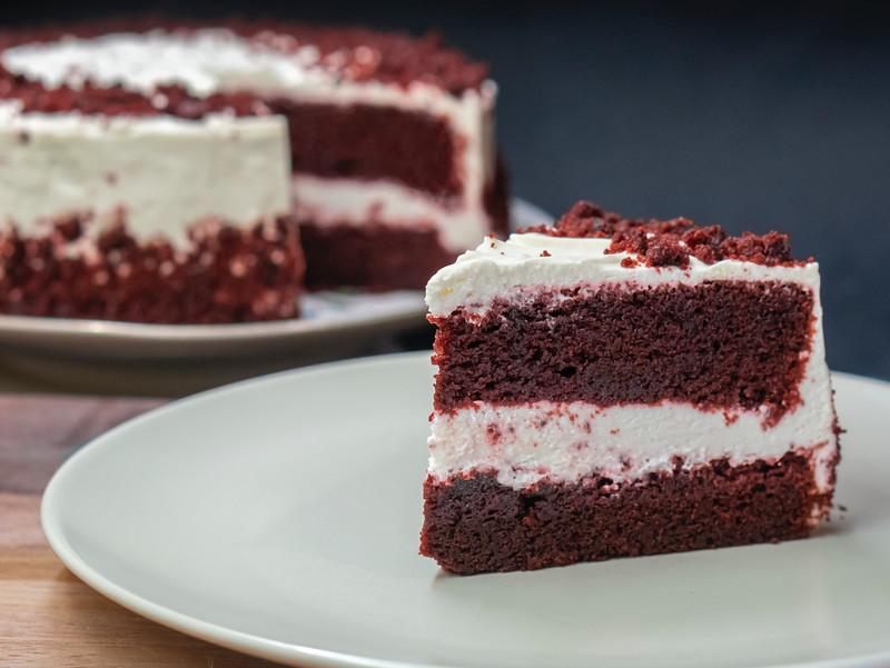 red velvet cake slices on plate