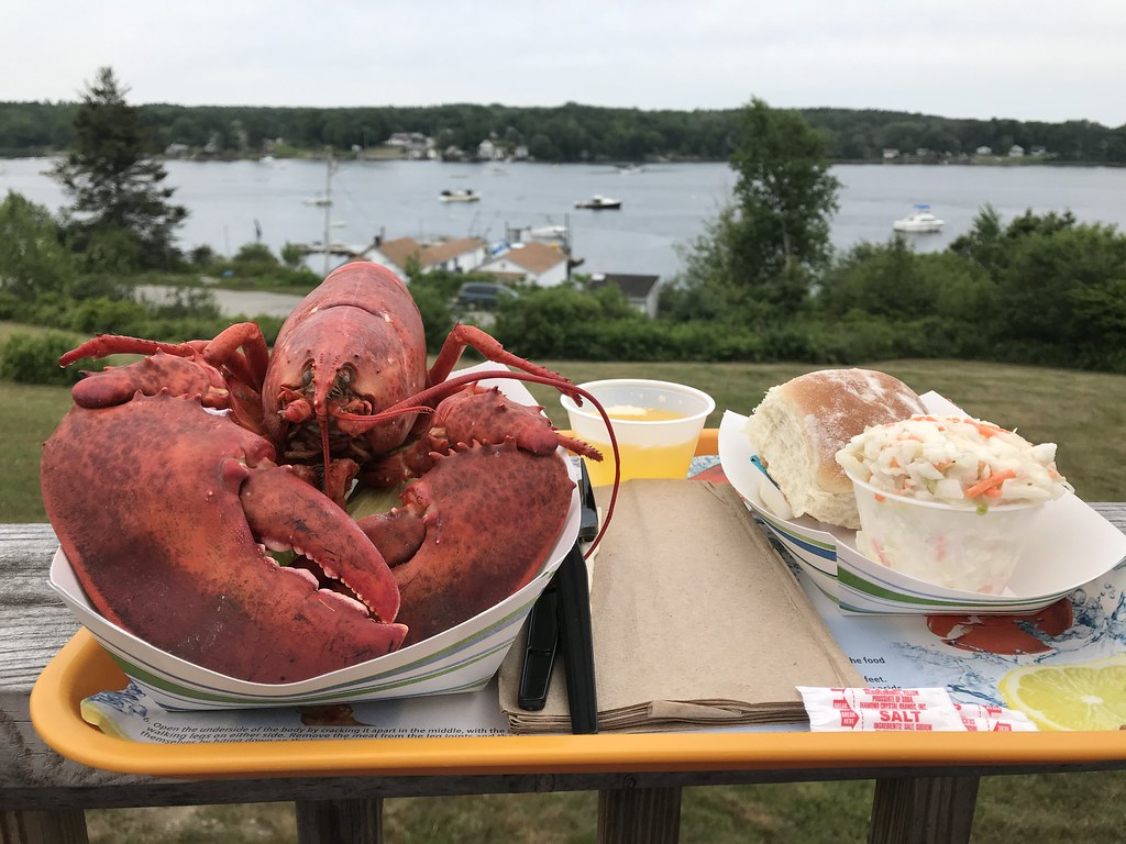 lobster and other food on tray with Maine harbor in background
