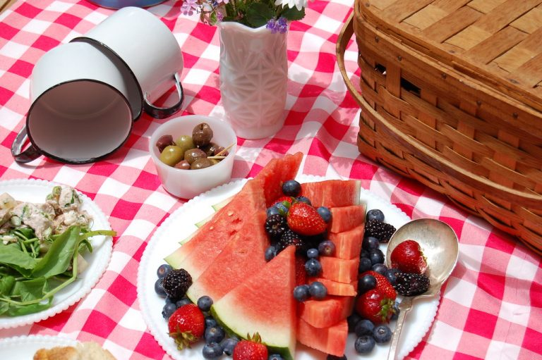 4th of july picnic with watermelon and basket