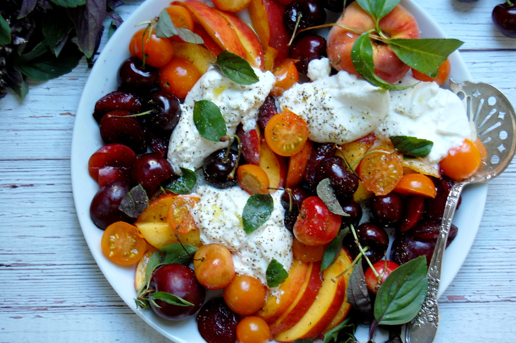 Summer Stone Fruit and Burrata Caprese