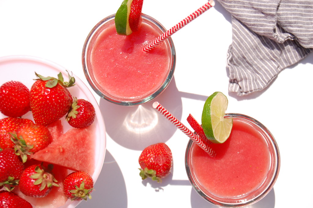 glasses of strawberry watermelon agua fresca with fruit