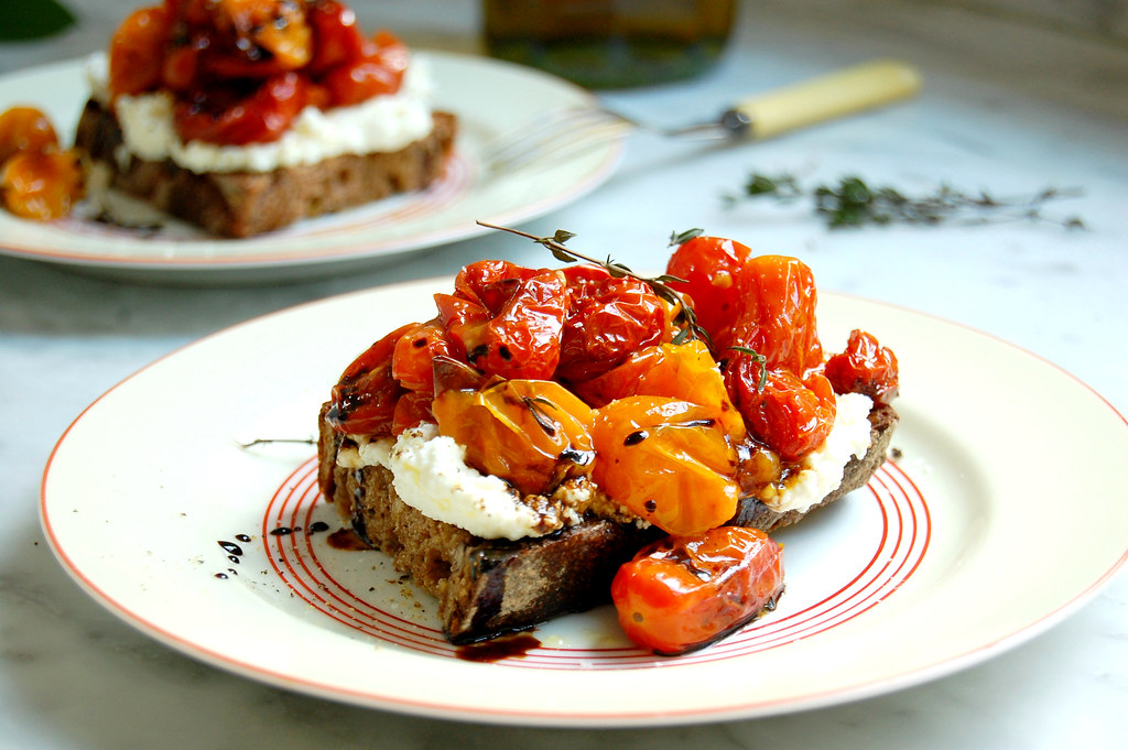 Melted Grape Tomato Bruschetta With Ricotta