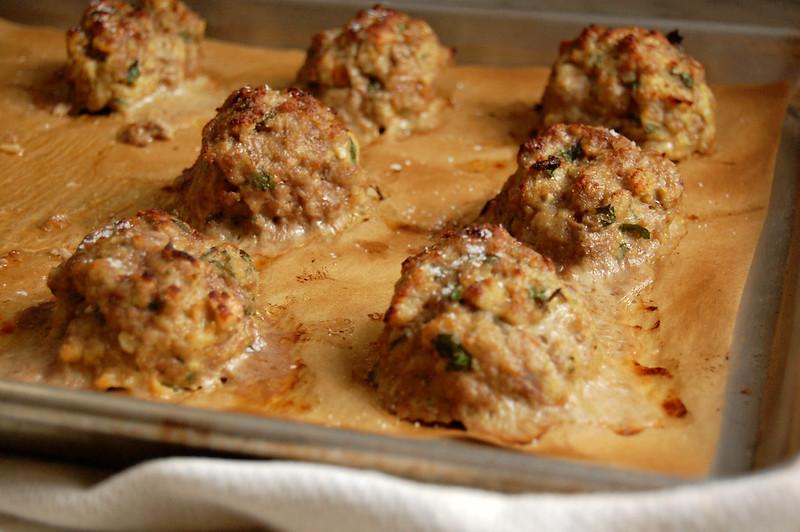 tray of baked italian meatballs plain