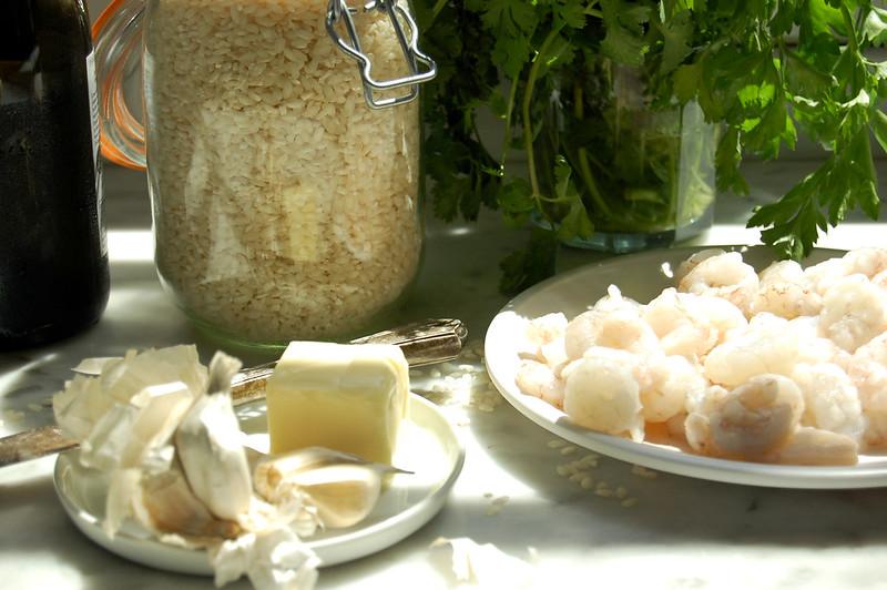 ingredients for risotto shrimp rice butter lemon garlic