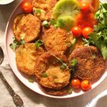 platter of fried green tomatoes with green goddess dressing