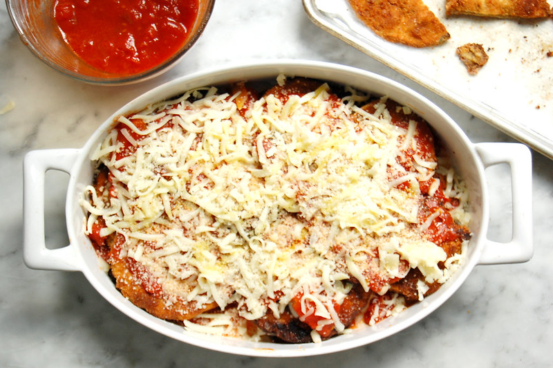 fried baked eggplant parmesan recipe with sauce and cheese