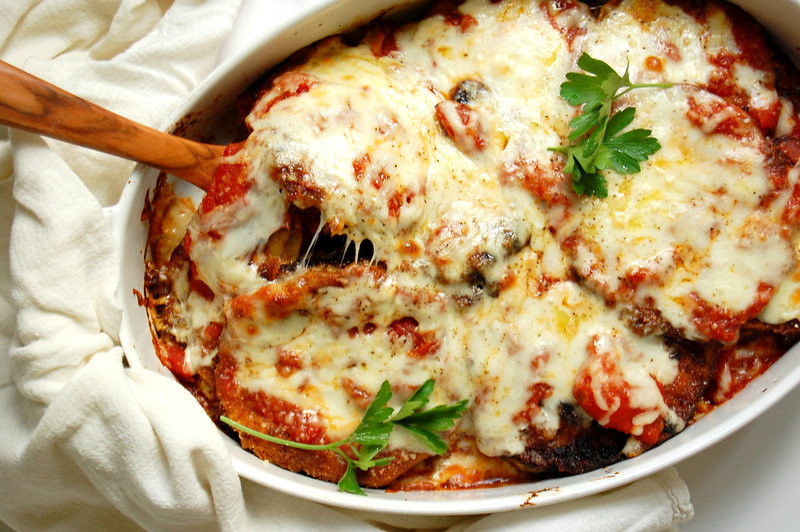 baked fried eggplant parmesan with sauce and cheese