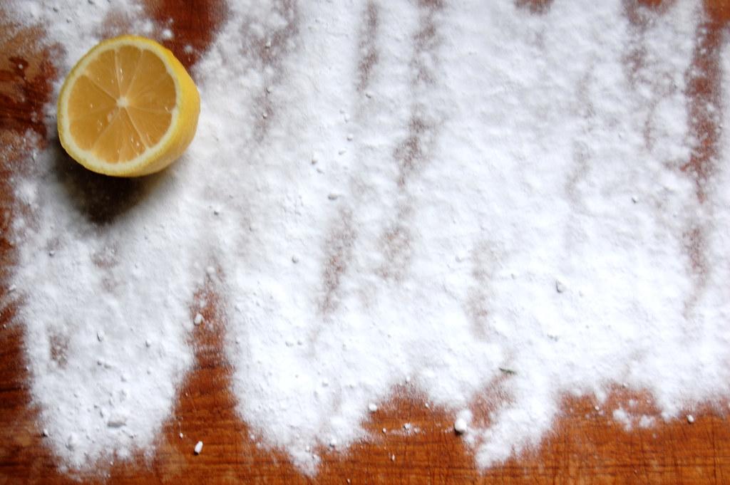 baking soda and lemon on wood