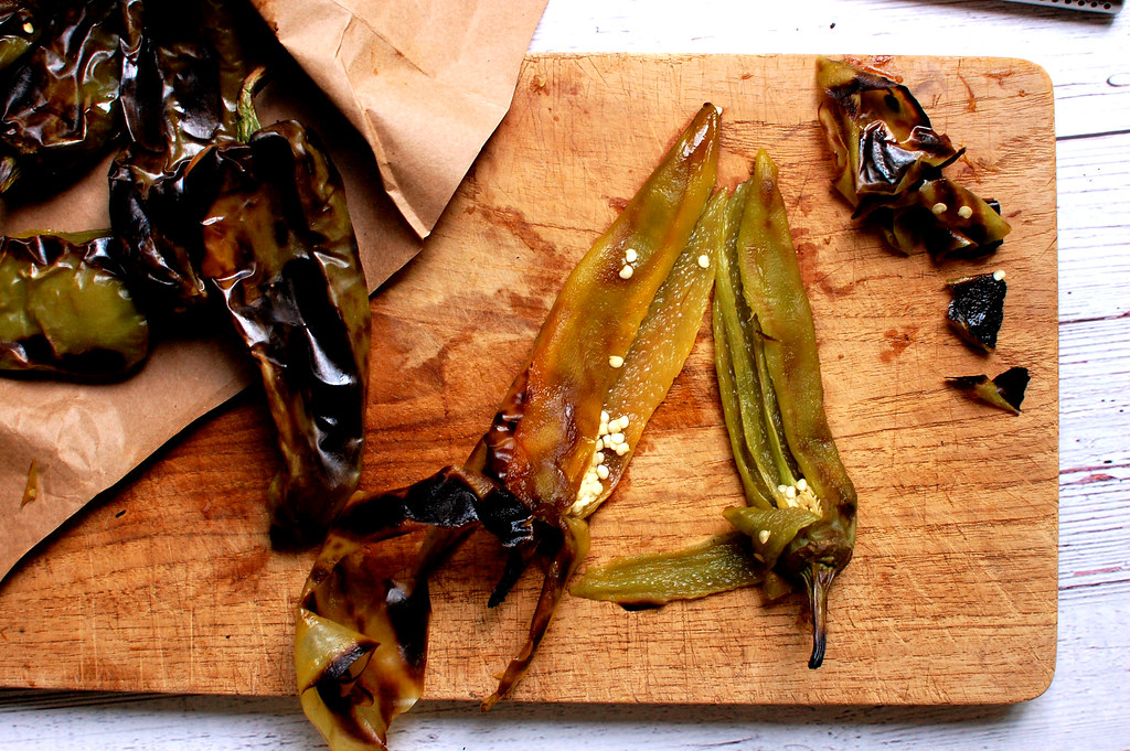 roasted peppers on cutting board